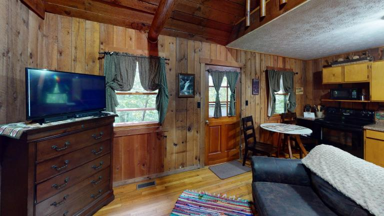 Hocking Hills Cabins Anniversary Living Room with TV